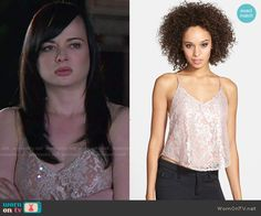 ASTR Sequin Lace Camisole worn by Ashley Rickards on Awkward