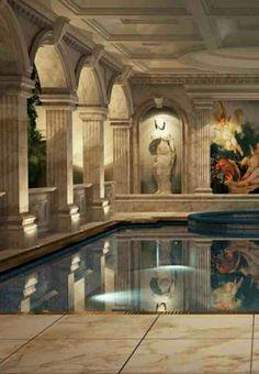 Rosamaria G Frangini | Mediterranean Architecture - stunning indoor swimming pool design #luxury...x