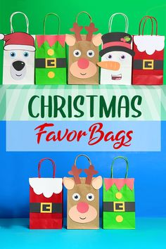 Favor Bags, Goodie Bags, Gift Bags, Christmas Favors, Christmas Ornaments, Lolly Bags, Santa Suits, How To Make Bows, Craft Stores