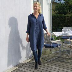 Nygårdsanna, Skjortklänning i lin, Blå