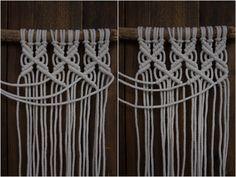 Kaarnan katveessa: Kuvalliset ohjeet: makramee seinävaate Diy And Crafts, Arts And Crafts, Bead Sewing, Handicraft, Clothes Hanger, Creations, Homemade, Beads, Knitting
