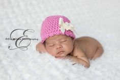 Image of Crocheted Baby Hat with Scalloped Edge