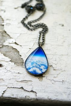 Looking Above the Clouds Photo Jewelry Teardrop Necklace Pendant, Gunmetal Black Surreal Royal Blue Wearable Art,. $30.00, via Etsy.