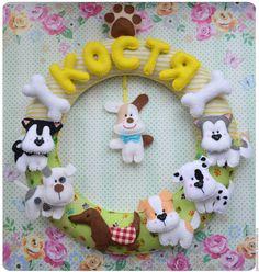 Купить Именное панно колечко Пёсики - комбинированный, песик, собака, хаски, маламут, именное панно