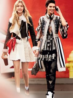 California Girls - You don't have to tell them that black and white make a high-contrast impact. Gigi Hadid wears a Burberry Prorsum leather biker jacket with shearling trim; burberry.com. Alexander McQueen broderie anglaise dress, $4,995; Alexander McQueen, NYC. Charvet red pocket square. Jenner wears a Givenchy macramé lace-and-goatskin sleeveless coat and a striped lace dress.