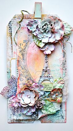 ✯I absolutely love this ✯ it would make a beautiful handmade card, as it does a tag. #shabbychic #handmadecard #onceuponatime