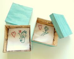 Future fathers day gift! Have child draw a picture, then embroider it onto a hankie!