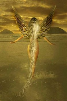 Beautiful blonde angel/fairy walking in water Angels Among Us, Angels And Demons, Magical Creatures, Fantasy Creatures, Fantasy World, Fantasy Art, Fantasy Fairies, I Believe In Angels, Ange Demon