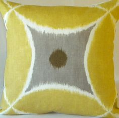 Yellow Ikat Pillow Cover  Yellow white and pewter  by MicaBlue