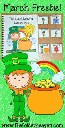 """The Lucky Leaping Leprechaun is a St. Patrick's Day themed Adapted Book that focuses on basic story comprehension and """"wh"""" quesions.  In this activity, a teacher or therapist reads the story to a small group of students at the students follow along, at the end of the story, students answer questions by matching the correct interactive answer piece to each question asked."""