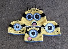 Minion Hats Crochet Patterns on Ravelry!  How stinkin' cute are they!!!