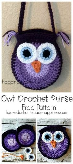 I'm kind of obsessed with owls, so I thought it'd be fun to make a cute owl purse for my girls. It was so easy and turned out so cute. Quick, easy, an. Crochet Owl Purse, Crochet Handbags, Crochet Purses, Crochet Bags, Crochet Animals, Crochet Shell Stitch, Bead Crochet, Crochet Hearts, Crochet Food
