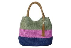 Striped Crochet Tote, Olive/Pink on OneKingsLane.com