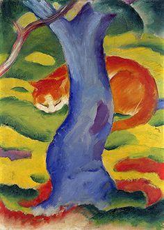 Cat Behind a Tree Franz Marc