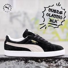 sneakerbaas@puma #puma #suede #baasbovenbaas #sneakerbaas  Puma - Suede Classic Black - This Puma sneaker has a great quality suede upper in black with crème detailing.  Now online available | Priced 79,99 Euro! | Men Sizes 39 EU - 47 EU.| Women Sizes 36 EU - 42.5 EU.