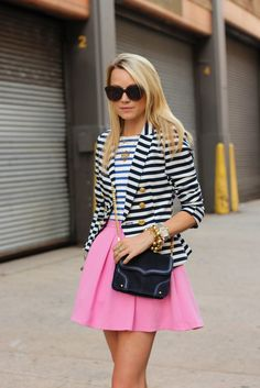 Striped top, striped blazer, and a pretty pink mini skirt | from Atlantic-Pacific blog
