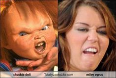 Chuckie doll and Miley Cyrus Chucky, Look Alikes Funny, Miley Cyrus, Look At This Dude, Rude Words, Funny Baby Pictures, Perfectly Timed Photos, Wtf Face, Childhood Photos
