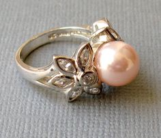 Pink Pearl & CZ Sterling Cocktail Ring Size 6 by vintagepaige, $38.00
