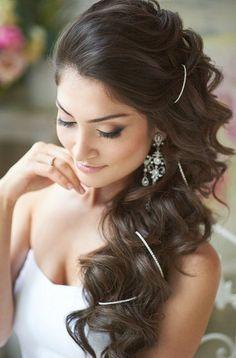 noivas de cabelo solto lateral - Pesquisa Google