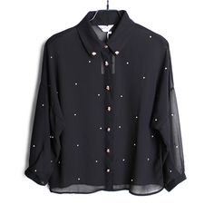 Early autumn clipped famous European and American ladies  skull button Crystal hand-made diamond puff sleeve chiffon blouse shirt tops