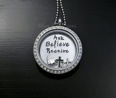 Ask Believe Receive Floating Locket Necklace / Living Locket / Inspirational Necklace / Personalized Sterling Silver Jewelry, Floating Lockets, and more by Silver Impressions