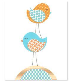 Bird Nursery Art Orange and Aqua Cute Bird by SweetPeaNurseryArt, $15.00