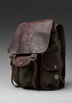 WILL LEATHER GOODS Lennon Rucksack in Loden/Espresso <3