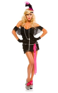 Flapper Costume for Sexy Halloween Costumes!  Black fringe dress with Hot PINK accessories!