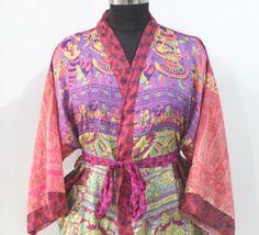 robes, floral robes, bridal party robes, wedding robes,brides robe bohemian patchwork Kimono Night Dress Vintage Kimono MKS #376 Funky Fashion, Indian Fashion, Women's Fashion, Vintage Kimono, Dress Vintage, Kimono Beach Cover Up, Bridal Party Robes, Short Kimono, Kimono Dress