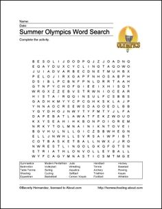 Summer Olympics Wordsearch
