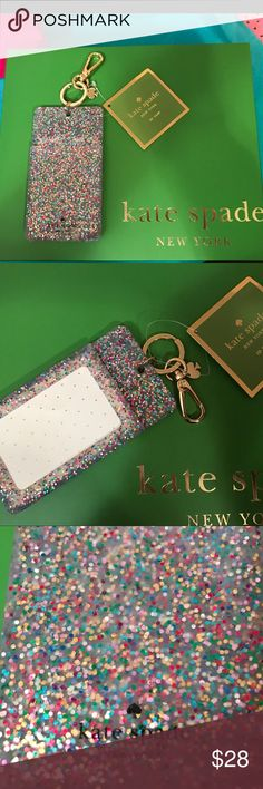 Kate Spade ID/Keychain♠️ Brand new w/tags Kate Spade ♠️ ID/Keychain. Multi-color design in silicone w/gold hardware including signature logo of a Spade. Perfect to clip onto ur favorite Kate crossbody! Kate Spade Accessories Key & Card Holders