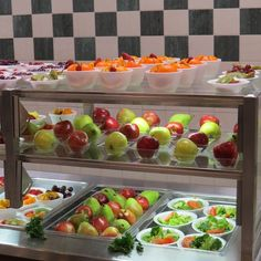 TIP: A multi-shelf display is a dramatic and beautiful way to display fruits and vegetables. (Photo from Susan Johnson, Jackson-Madison County School System, Tennessee)