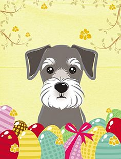 Caroline's Treasures BB1888GF Schnauzer Easter Egg Hunt Garden Flag, Small, Multicolor - The garden size flag is made from a 100% polyester material Two pieces of material have been sewn together to form a double sided flag This allows the text and image to be seen the same from both sides