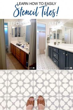 Learn How To Easily Stencil Floor Tiles! is part of Stenciled floor We are so excited to welcome our guest, Angela Rose, who is here to show us how to easily stencil floor tiles have you ever thoug - Bathroom Renovations, Home Renovation, Home Remodeling, Remodel Bathroom, Stenciled Tile Floor, Bathroom Floor Tiles, Floor Stencil, Painted Tile Bathrooms, Tile Stencils