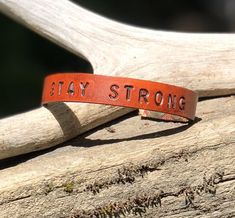 STAY STRONG Leather Bracelet | Strong Wristband | Inspiration Gift | Leather Bracelet | Unisex Leather Bracelet | Inspiration Bracelet Handmade Bracelets, Earrings Handmade, Yellow Handbag, Leather Wristbands, Unisex, Stay Strong, Leather Pouch, Leather Design, Inspirational Gifts