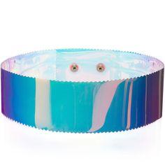 ROKSANDA Blue Iridescent Pvc Belt ($170) ❤ liked on Polyvore featuring accessories, belts, snap belt, roksanda, blue belt and adjustable belt