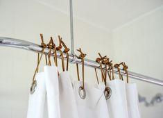 Shower curtain ties // Remodelista
