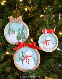 Embroidery Hoop Snow Globe Shaker Ornaments