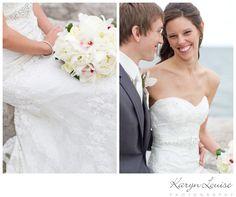 Karyn Louise Photography Wedding Lake Ontario  Peony, Rose & Orchid Bouquet, Lace Wedding Dress, Grey Tuxedo