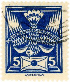 Czechoslovakia postage stamp: carrier pigeon, c. 1920 - designed by J. Benda