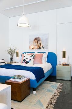 cobalt blue upholstered bed