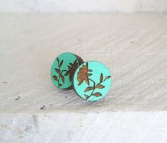 Hand Painted Peony  Wooden Studs in Mint Turquoise - Laser Cut Wood. $19.00, via Etsy.    http://www.etsy.com/shop/EachToOwn