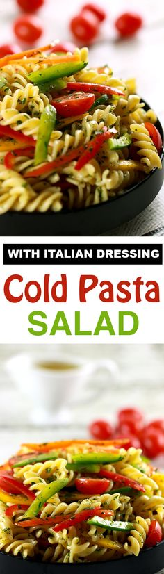 Who doesn't love pasta?! And this pasta salad with Italian dressing is absolutely delicious!! Plus you're getting all the nutrients of a salad plus the yumminess of the pasta! PERFECT! | ScrambledChefs.com