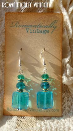 Turquoise Crystal Earrings Beaded Spring by RomanticallyVintage, $23.50