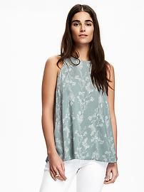 Printed High-Neck Trapeze Tank for Women