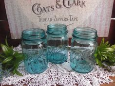 3 Vintage Aqua Blue Ball Perfect Mason Pint Sized Jars Scratch and Dent NO LIDS (22.50 USD) by CatfishJarRescue