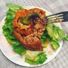 #lowcarb super bowl ready stuffed peppers! #primal #realfood #realfoodRD #recipe #realfoodrecipe #morevegetablesthanavegetarian #veggies #shakeyosugarhabit