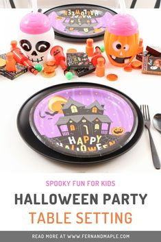 Get ideas for how to set a fun, spooky, and budget-friendly table for a kids Halloween party from fernandmaple.com!