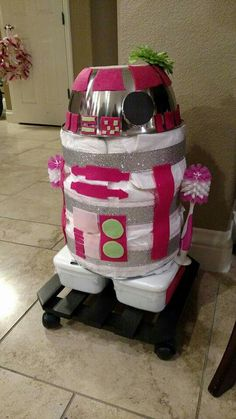 Pink R2-D2 Diaper Robot(with lights off)/Star Wars baby shower