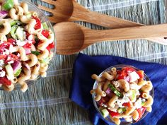 This easy Greek Pasta Salad recipe is loaded with fresh vegetables, feta cheese and Greek olives. It's perfect for potlucks, picnics or dinner parties.